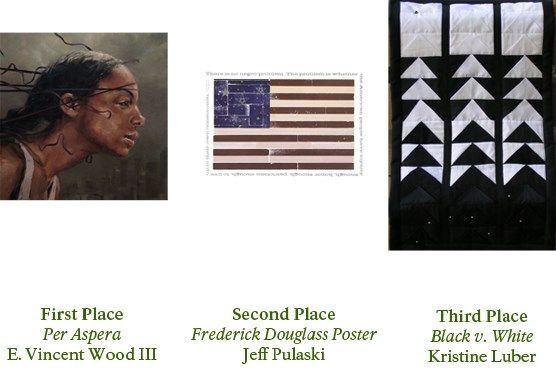 Image of three artworks: Per Aspera, a painting of the profile of an African American woman with her hair blowing behind her; Frederick Douglass, a picture of an American flag with words; and Black v. White, a quilt which gradually goes from black to white.