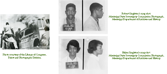 Three images from the Freedom Rides: a greyhound bus with smoke coming out of the door, and mug shots of Helen Singleton and Robert Singleton.