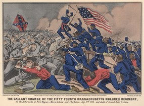 Currier and Ives drawing of the 54th Massachusetts Colored Regiment on the battlefield.