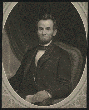 Portrait of Lincoln holding a document in his left hand, facing slightly left.