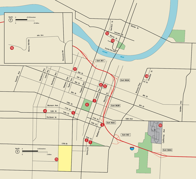 Image of map of Topeka showing the 16 locations on the driving tour.