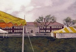 Image of painting depicting Brown v. Board of Education NHS grounds after Scouting Day with tents in historic playground area.