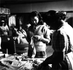 Two female African American students working on a sewing project, circa 1947.