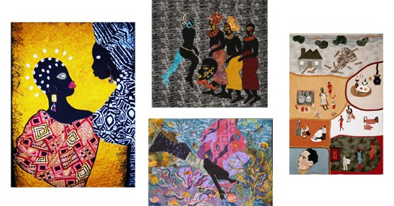 Collage of four quilts by Marla Jackson