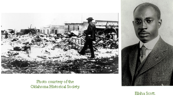 Image of Tulsa with a man walking through destroyed buildings, and Elisha Scott.