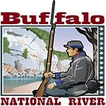 color drawing with civil war soldier resting against tree with rifle upright and looking at gray bluff across blue river, the words Buffalo National River frames picture top and bottom