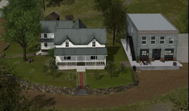 image of digital reconstruction of two buildings