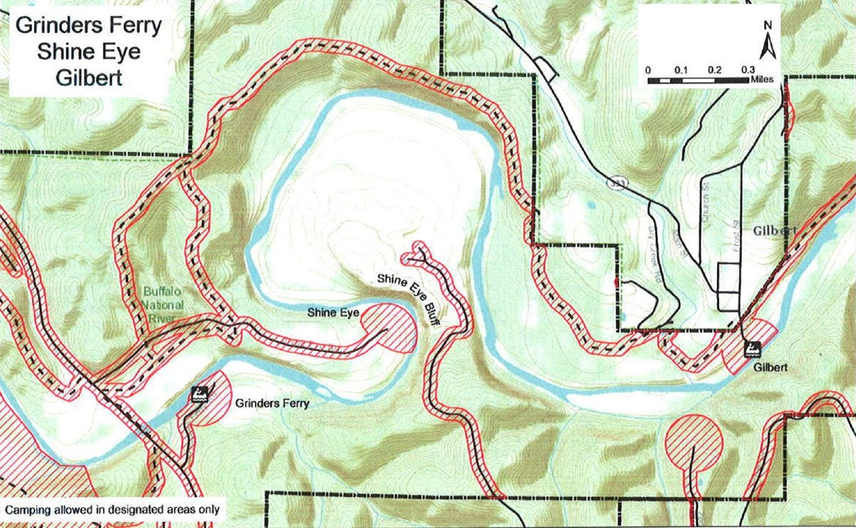 topographic map of Grinders Ferry, Shine Eye and Gilbert areas, safety zone no hunting shaded red, roads solid black lines, trails dashed black lines, mileage and compass direction at top right
