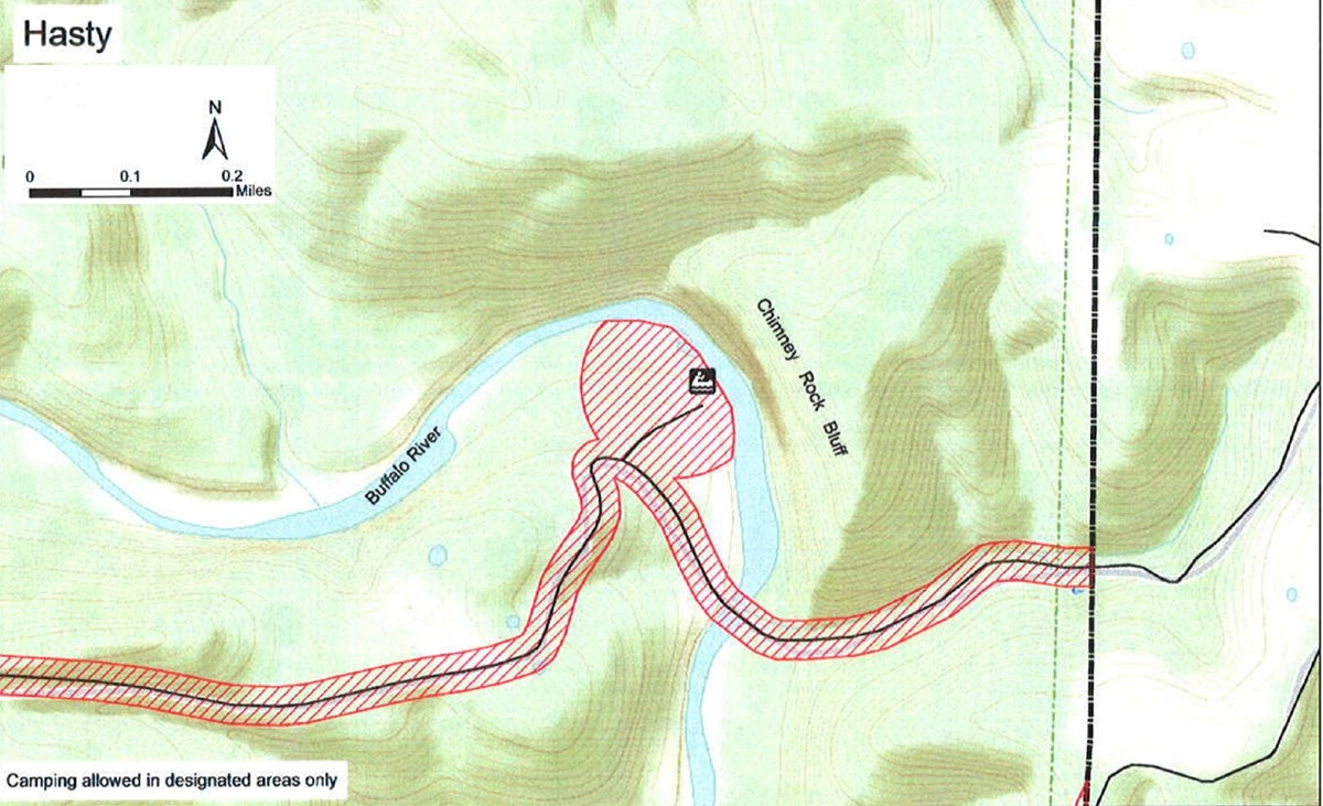 topographic map of Hasty access area, safety zone no hunting shaded red, road is black solid line, boat launch marked at center, mileage and compass direction at top left