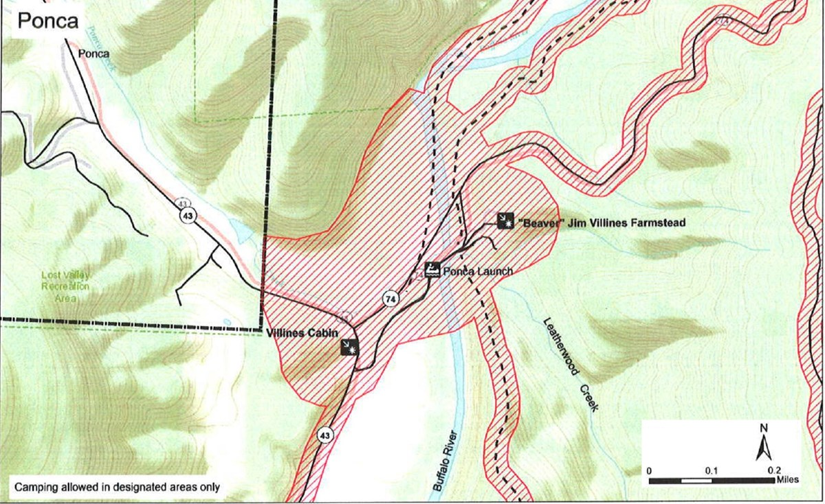 topographic map of Ponca Access area showing safety zone no hunting in shaded red, roads are solid black lines, trails are dashed black lines, park boundary are dash dot dash black lines, mileage and compass direction at bottom right