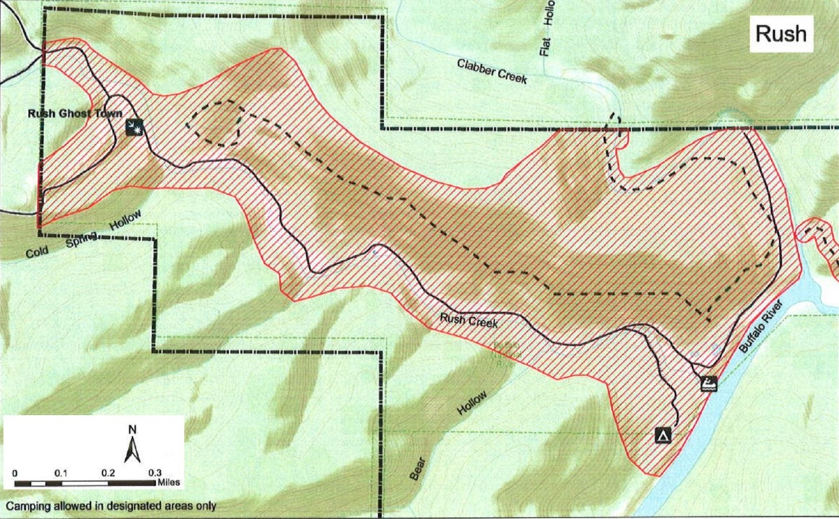 topographic map of Rush access area, safety zone no hunting shaded red, roads solid black lines, trails dashed black lines, boundary dash dot dash black lines, mileage and compass direction at bottom left