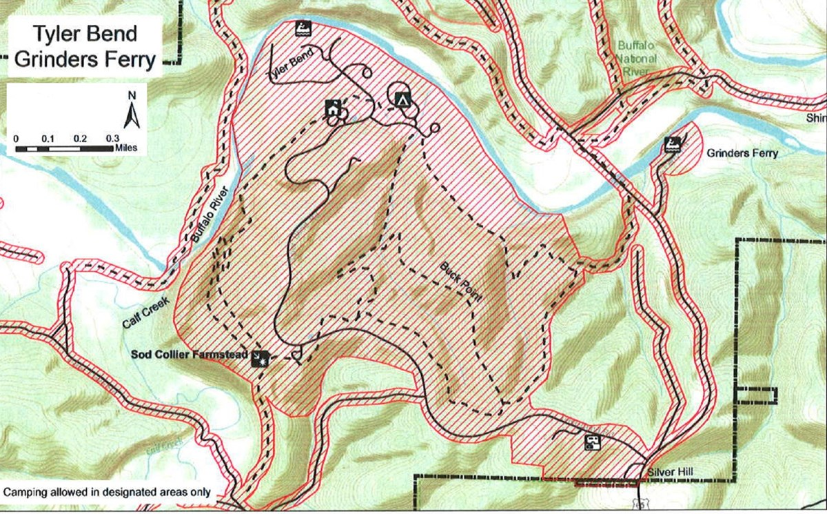 topgraphic map of Tyler Bend area, safety zone no hunting shaded red, roads solid black lines, trails dashed lines, boundary dash dot dash lines, mileage and compass direction at top left