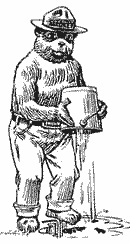 line drawing of Smokey the Bear pouring a bucket of water