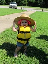 toddler wearing life jacket