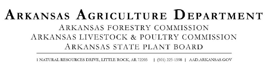 letterhead for Arkansas Department of Agriculture