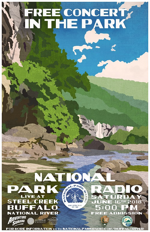 stylized image of bluffs and river with text for concert details