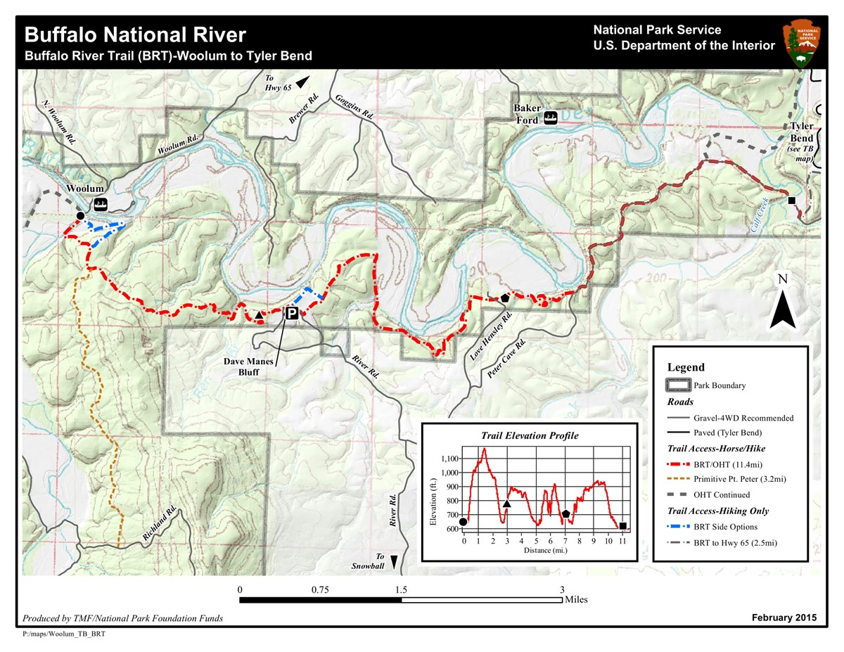 Trail map for Woolum to Tyler Bend