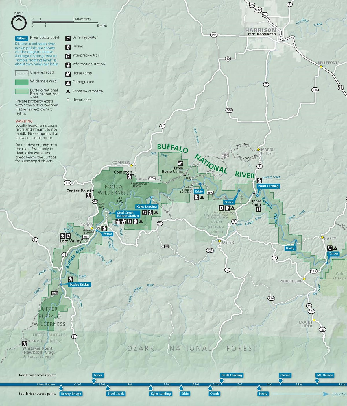 Boxley Valley Arkansas Map.Upper District Floating Buffalo National River U S National Park