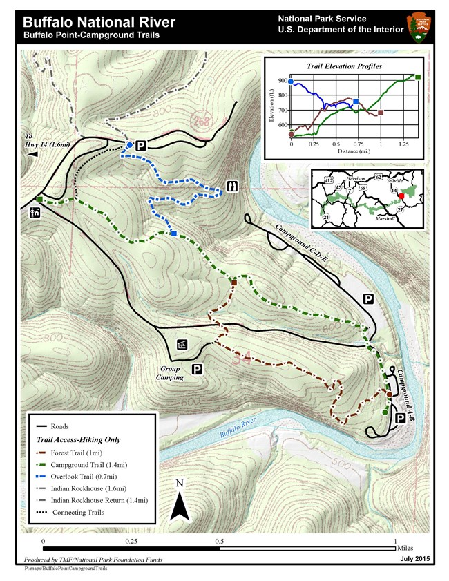 Topographic map of the trail system at Buffalo Point. Blue dashed lines mark the Overlook Trail. Green dashed line marks the Campground Trail. The brown dashed line marks the Forest Trail. The trail elevation profile is in the upper right.
