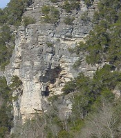 color photo of gray cliff face with two indentations on either side of a small ridge  which gives the impression of an elephant's head