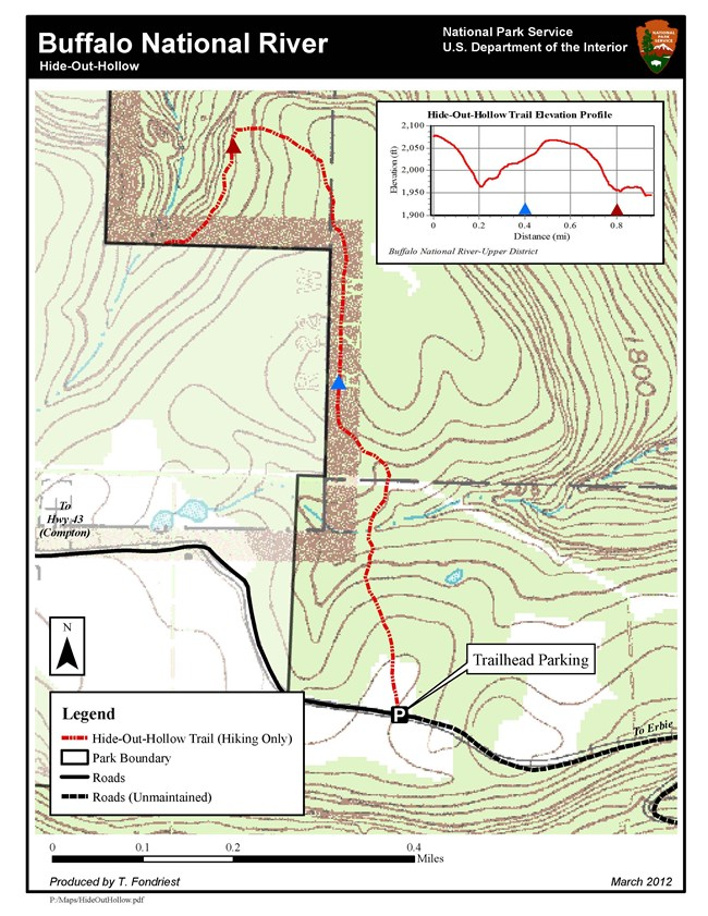 Hideout Hollow Hiking Trail Map