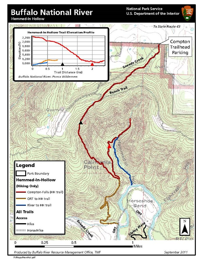 Hemmed in Hollow Hiking Trail Map