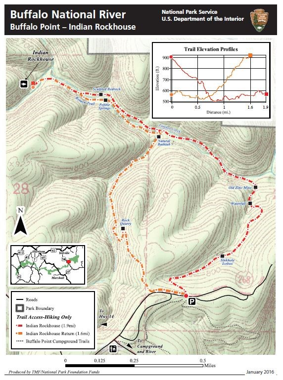 Topographic map of the Indian Rockhouse. Trail marked by red and orange dashed lines. Elevation profile in top right corner. Key in lower left corner.