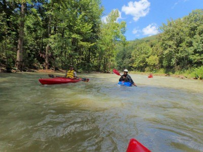 Paddlers approach Big Bluff