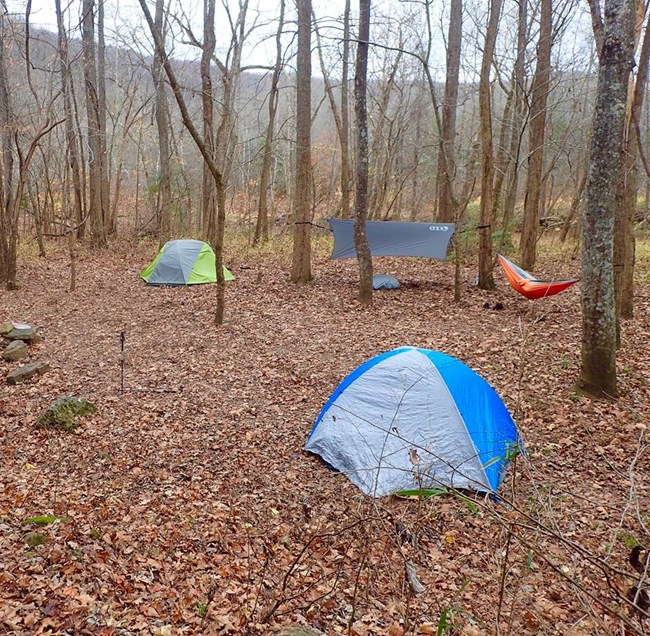 Backcountry camping setup near the Buffalo River
