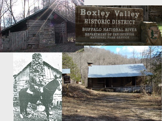 group of four pictures, top left and bottom right are cabins, bottom left is historic photo of man on a horse, top right is a sign