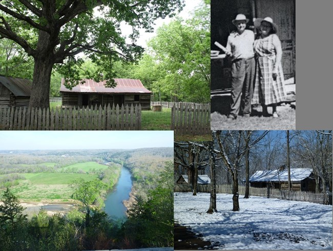 Collage of four photos, top left and bottom right are the Collier cabin, top right is an historic photo of the Colliers, bottom left is the view of the river from the overlook behind the homestead
