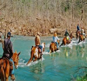 Six horses and riders in single file line riding through belly deep blue/green river.
