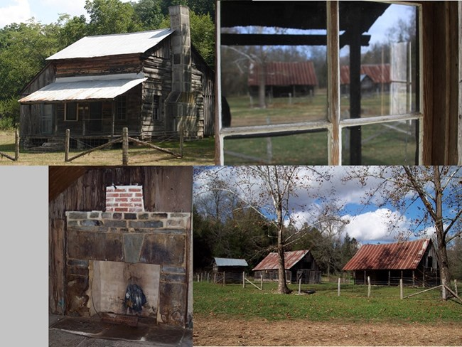 four photos of the parker hickman farmstead, top left is the house, bottom right is farm buildings, top right is buildings reflected in window, bottom left is the fireplace in the house