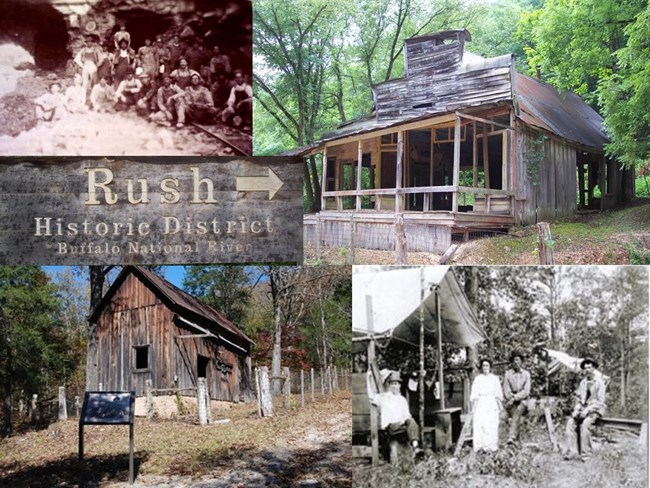 Collage of five photos, top left and bottom right are historic photos of miners and town residents, top right and bottom left are remnants of the town still standing, center left is the Rush Historic District sign