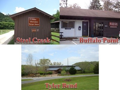 color photographs of three buildings, top left Steel Creek top right Buffalo Point bottom Tyler Bend