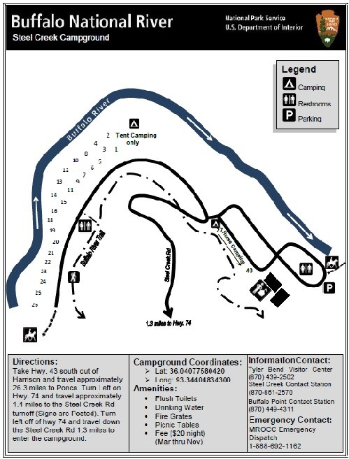 Map of campsites at Steel Creek Campground