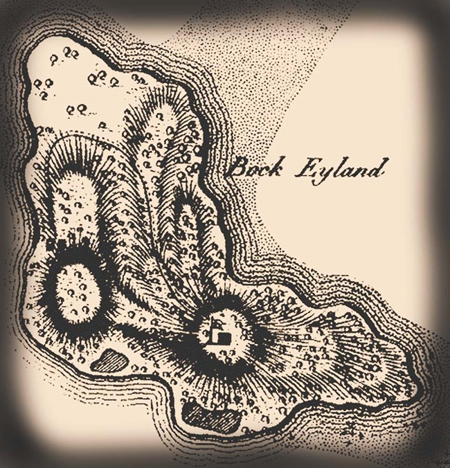 Historical map of St. Croix, with close-up of Buck Island.