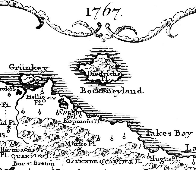 "close-up of historic map of Buck Island, with name ""Bocken eyland."""