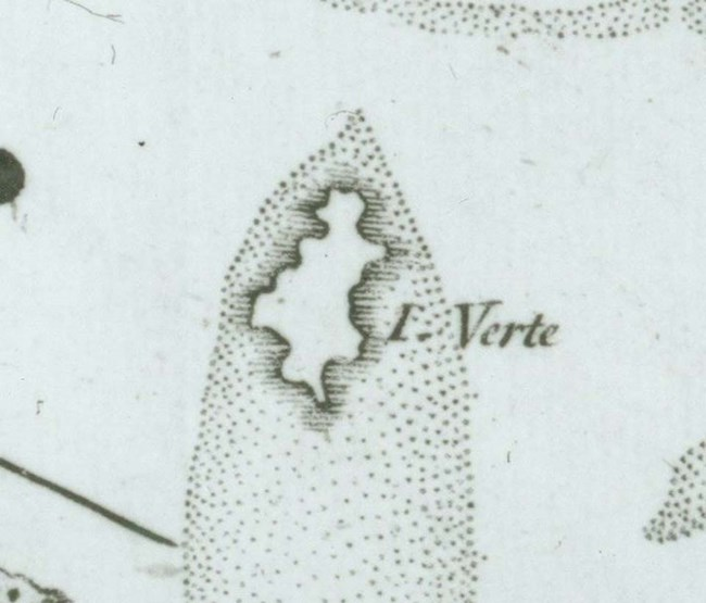 close-up of historical map showing name of Buck Island as Green Island