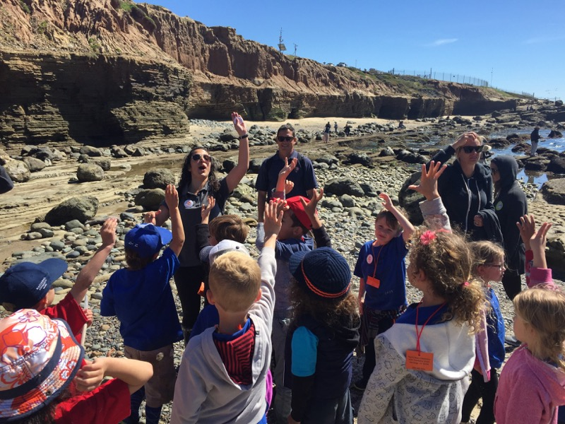Students at the Tidepools leaning about climate