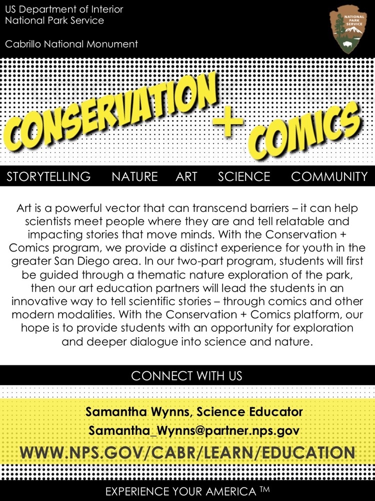 A flier for the program, Conservation + Comics. The title of the flier is big and bolded on a black and white polka-dotted background. A paragraph describes the program with the contact information for the program director, Samantha Wynns, at the bottom.