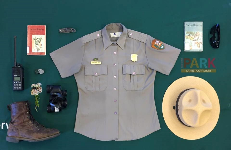 Photo showing various ranger articles such as uniform, hat, radio