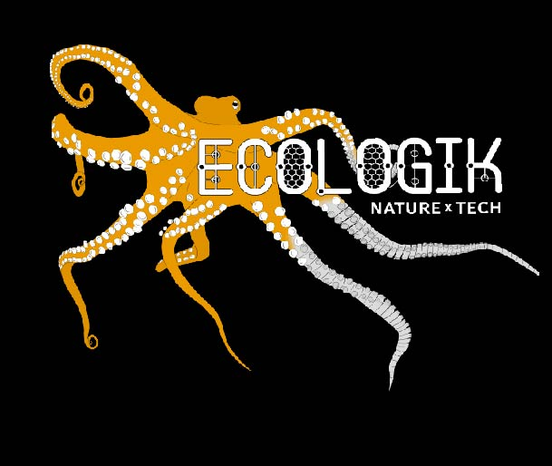 "The logo for EcoLogik, an orange octopus against a black background that states ""EcoLogik Nature times Tech""."