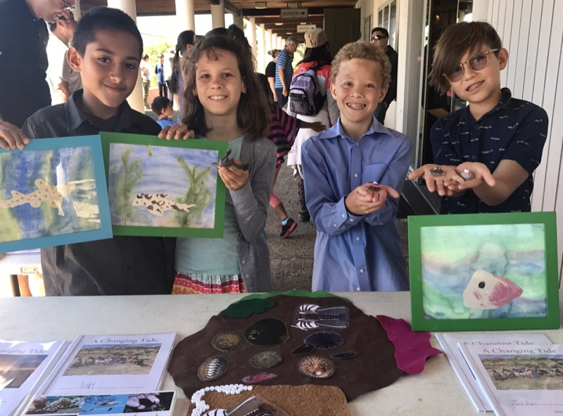 High Tech Elementary students showing their 3d tidepool critter models
