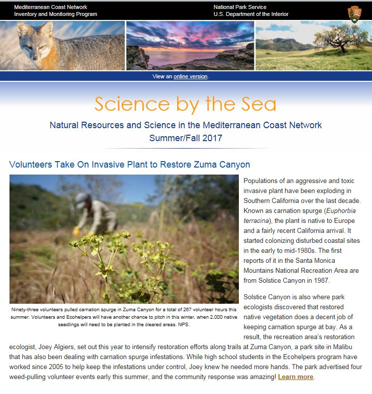 Front Page of NPS Mediterranean Coast Network Newsletter