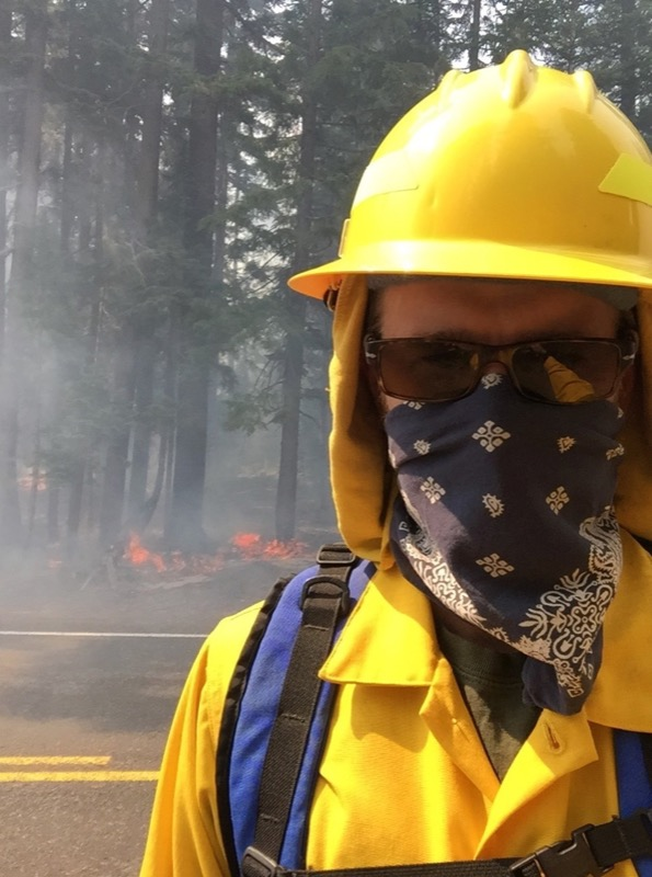 Ranger on patrol during forest fire
