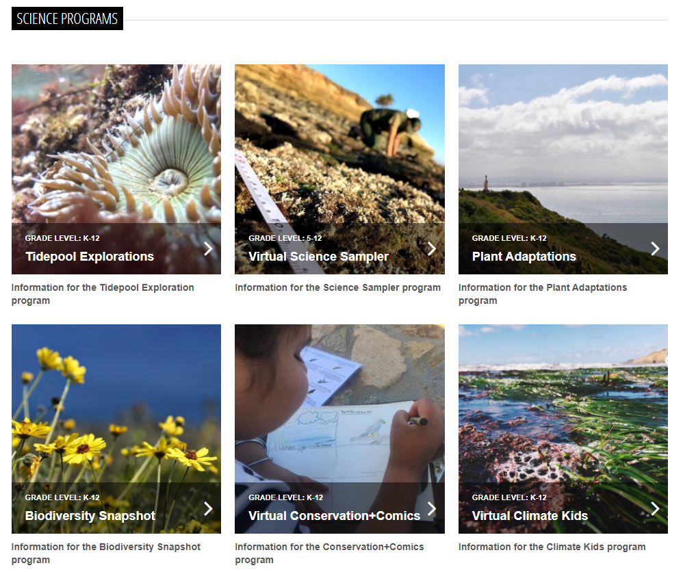 A screenshot of the science education page on Cabrillo National Monument's website, which highlights which programs are offered virtually. Click on link in article to read accessible version.