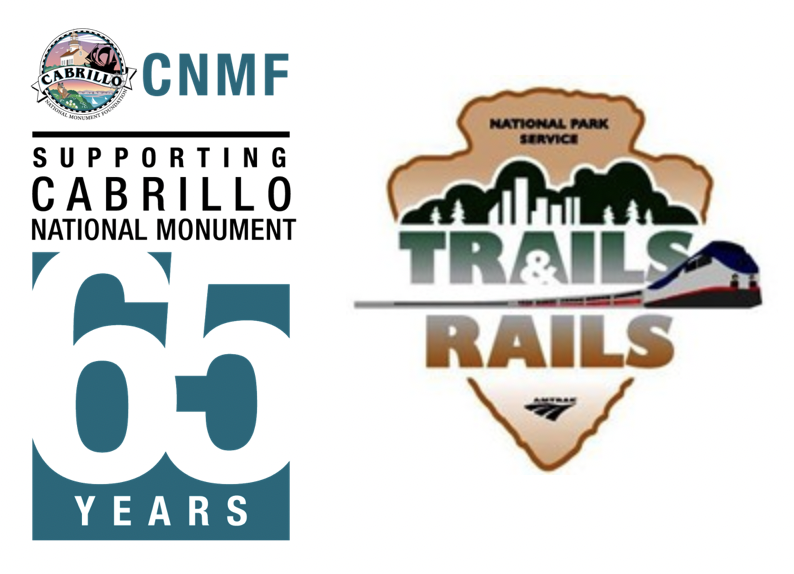 Cabrillo National Monument Foundation logo and the Trails and Rails logo