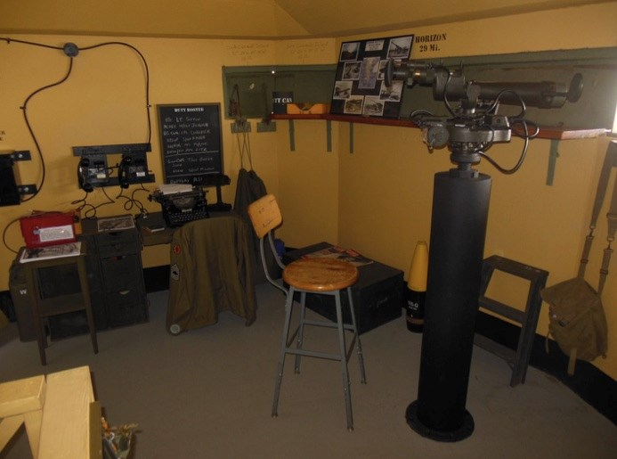 Inside Bunker showing the Battery Commander's desk and scope