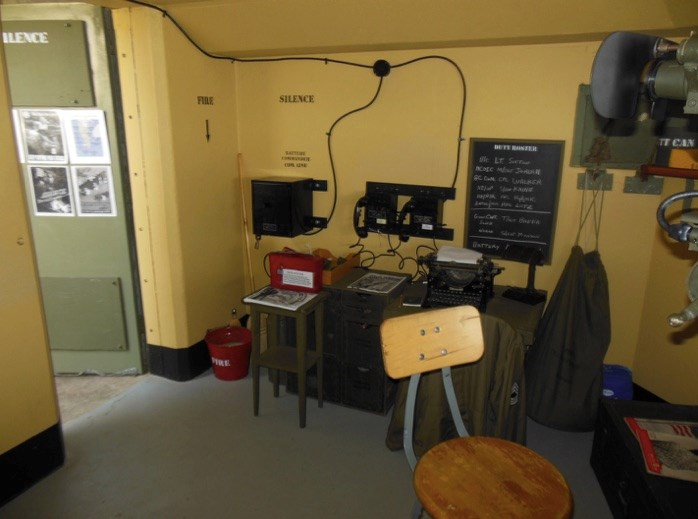 View inside Bunker looking southeast showing the phones used for communication to Battery Ashburn